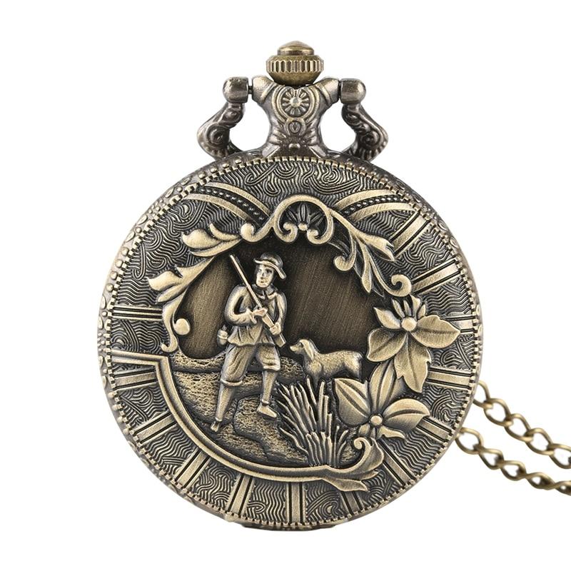 Retro Shepherd Farmer Design Bronze Pocket Watch Chain Flower Cover Classic Arabic Numeric Scale Fob Clock Necklace Pendant Gift