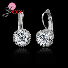 Top Selling Factory Price 925 Sterling Sliver Fashion Earring Jewelry Shiny CZ Cubic Zirconia Woman Daily Earrings(China)