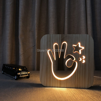 การ์ตูนรูปร่างตกลงไม้กลวงไฟกลางคืนออกแบบUSBโคมไฟเป็นความคิดสร้างสรรค์ของขวัญวัน