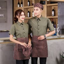 Summer Hotel Restaurant Waiter Uniform Catering Short Sleeve Work Clothing Food Service Coffee Shop Waiter Shirt Workwear(China)