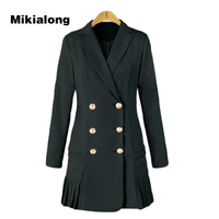 Mikialong 2017 Double Breasted Women Blazer Dress Autumn Winter Long Sleeve Ladies Suit Formal Wear To