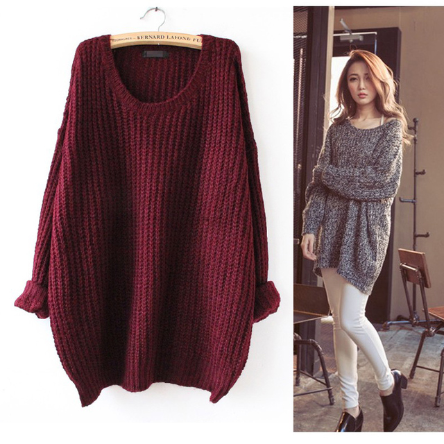 Online Shop S-5XL New Arrival Womens Cozy Wide Neck Sweaters ...