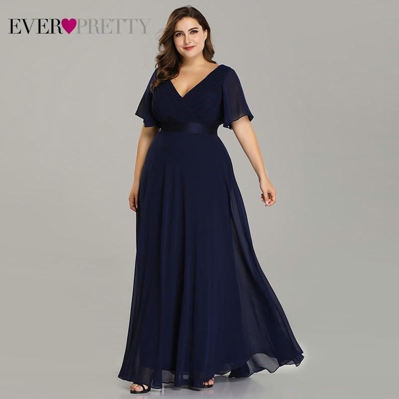 e9f4a46759dd Plus Size Evening Dresses Ever Pretty EP09890 Elegant V-Neck Ruffles  Chiffon Formal Evening Gown Party Dress Robe De Soiree 2019