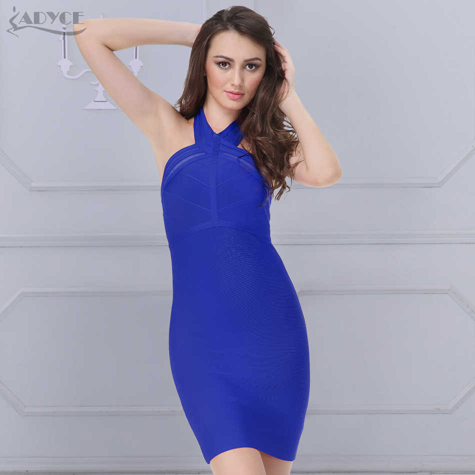 fa94dfa0824c ADYCE 2018 New Bodycon Dress Women Party Dresses Blue Red Hang Neck Mesh  Club Dress Sexy