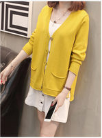 Autumn solid color single breasted outer sweater loose long sleeved V neck foreign air thin knit cardigan coat sweater A85