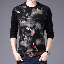 High-end luxury spring and autumn famous print round neck long-sleeved mens t-shirt Korean fashion slim bottoming shirt men