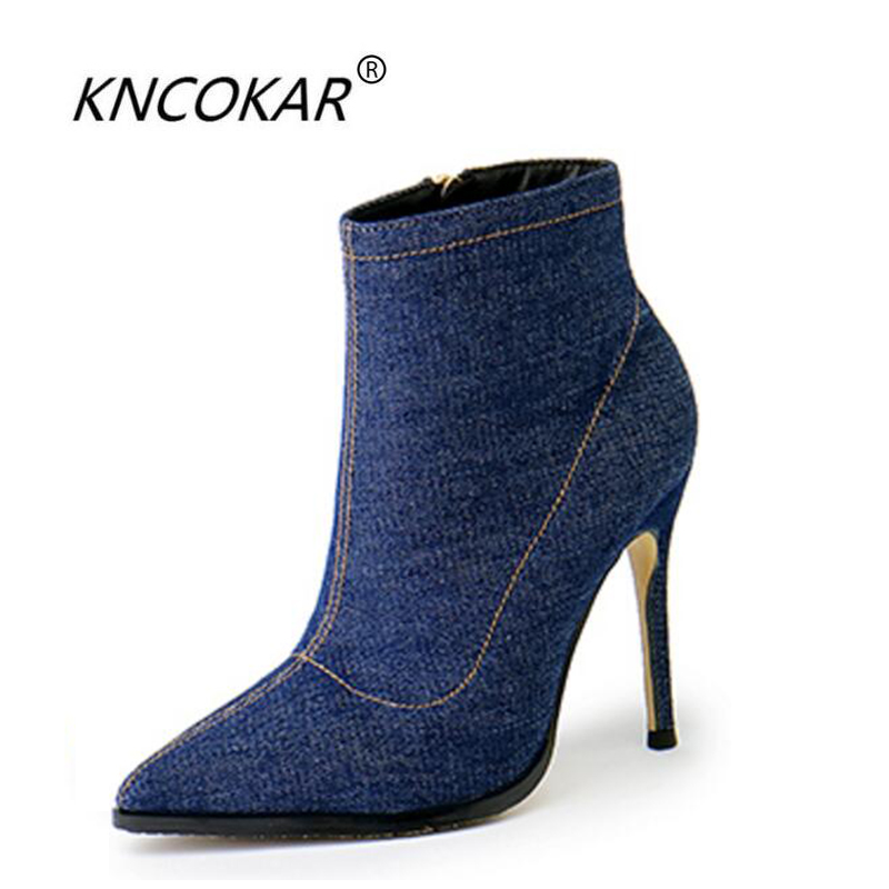 KNCOKAR2018The new pair of short boots and women's shoes with a pair of blue grey pointy boots, a pair of skinny boots and a pai мини колонки a pair of 20 bose