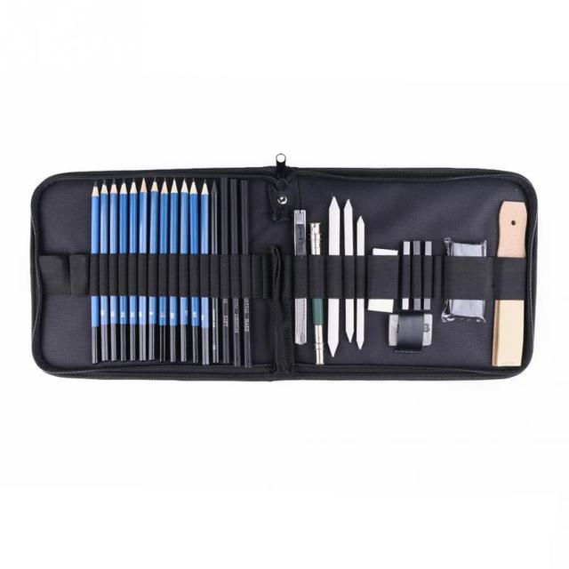 32 Piece Professional Art Drawing Set and Sketch Kit with Pencils Erasers Kit Bag  Graphite Pencils Supplies Drawing for Artists