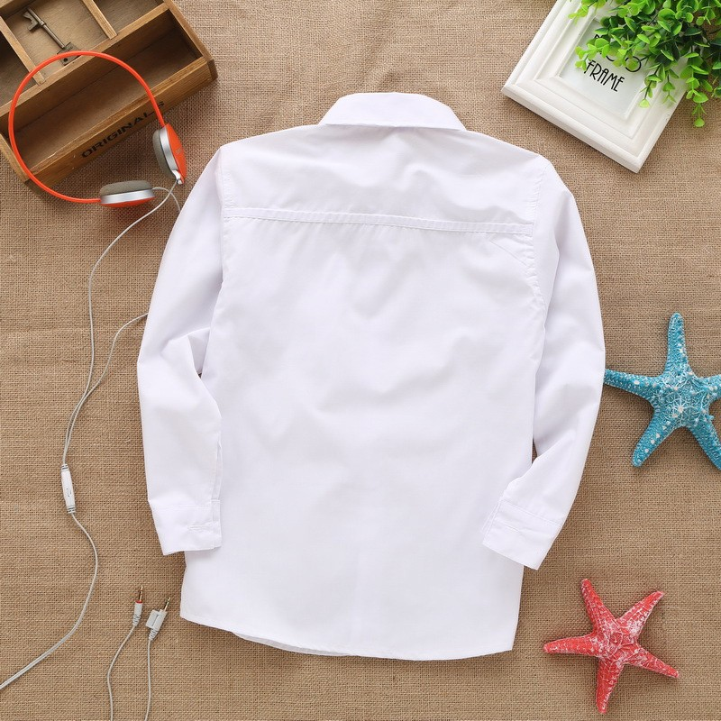 new style  lace cotton solid White baby kids boys Blouse white shirts  with long sleeves for children boys christmas gift