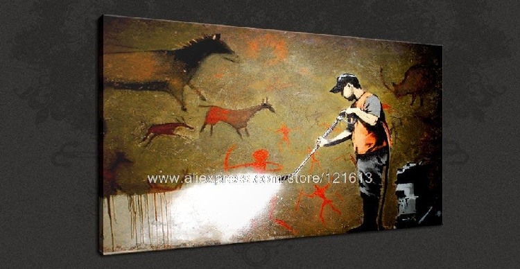 Banksy Art On Canvas Graffiti Removal Urban Pop Oil Paintings Artist Modern Wall Painting Country Decorations In Calligraphy