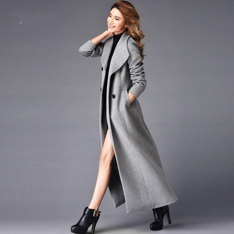 Boutonnage La Trench 2018 Long Veste Laine Automne Double De Manteau Longue Outwear Femmes Manteaux Mode Hiver Taille Nouvelles Plus Mince aAqrwWTaf