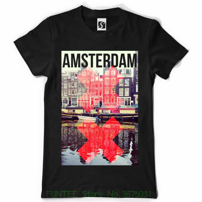 d919f94ef54 Short Sleeve Round Neck T Shirt Promotion Exclusive And Unique Men s T-shirt  Amsterdam Design