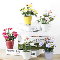 1PC Artificial Flowers Bonsai Rose Rosaceae Silk Flower Potted Ceramics Flowerpot Wedding Home Decorative 4 Colors