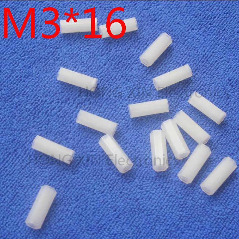 M3 * 16 16mm 1 pcs branco Nylon Hex Masculino-Feminino Standoff Spacer Rosca Espaçador Hexagonal Standoff Spacer marca novo parafuso de plástico