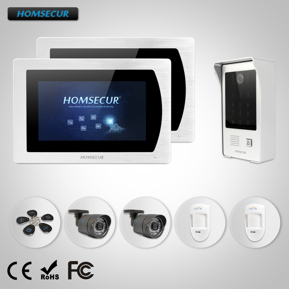 HOMSECUR 7 Wired Video Door Phone Intercom System with Password & ID Access+CCTV Camera and Wired PIR Sensor(BM717-S+BC091)