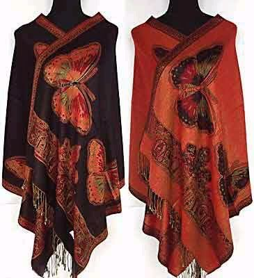 Red/Black/Purple/Blue/Hot Pink/Burgundy New Style Women Double Side Butterfly Pashmina Reversible Scarf Wrap Two Side Shawl mariposa en plata anillo