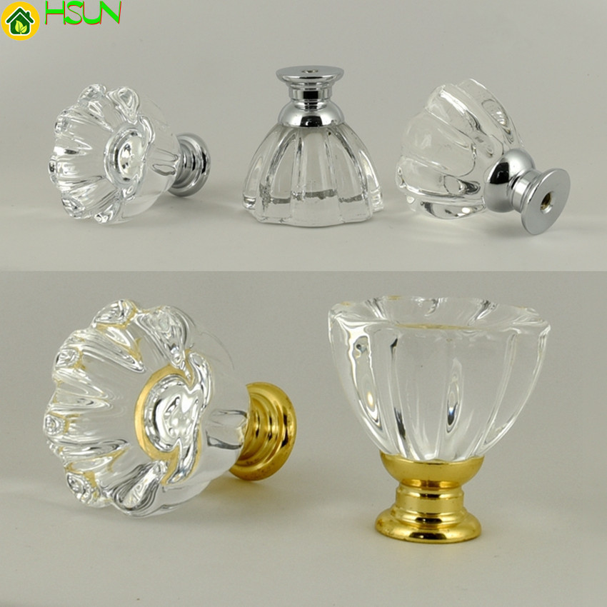 Fashion Crystal Glass Door Knobs Cupboard Pull Handles Drawer Furniture Pulls