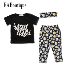 EABoutique Summer style letter floral daisy printed Toddler font b baby b font girl clothes set