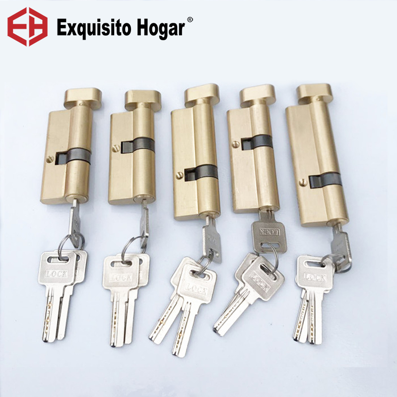 Custom Eccentric Core 70 75 80 85 90 95MM Lock Gold Bed Door Cylinder Pure Brass Door Lock Lengthened Extended
