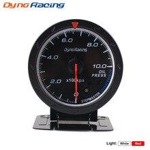 Dynoracing 60MM auto Car Oil pressure Gauge 0-10 BAR Oil Press Meter Red & White Lighting Car Meter with Oil Press Sensor