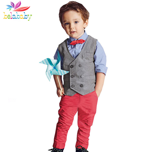 Belababy Boys Clothing Sets Gentleman 2017 New Children Long Sleeve Shirt+Vest+Pant 3PCS Baby Boy Autumn Tie Clothes Suit