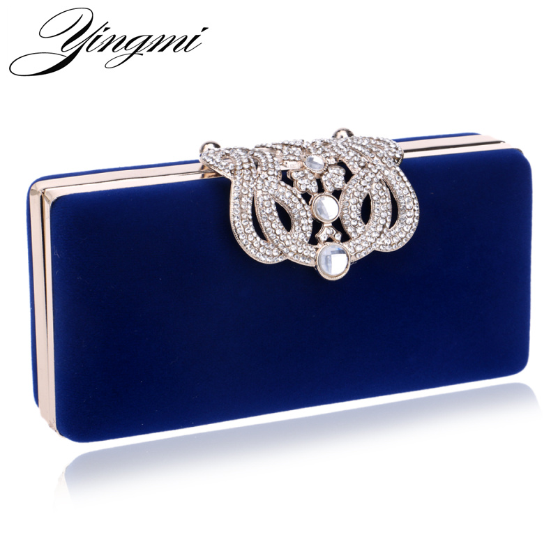 YINGMI Rhinestone crystal diamond fashion luxury velour women day clutch small purse bag with shoulder chain shoulder bags