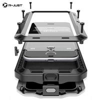 R-JUST אבדון שריון Duty הלם מתכת ואלומיניום עמיד למים חיים יוקרה תיקי טלפון עבור iphone 8X7 SE 4 5S 4S 5 5C 6 6 S בתוספת זכוכית