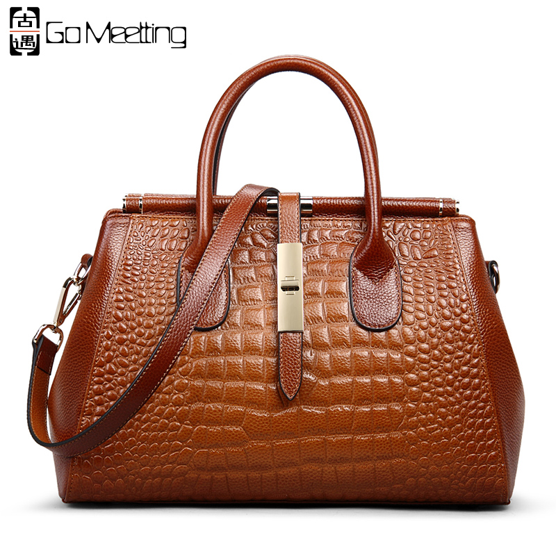 Go Meetting из натуральной кожи Для женщин Сумки сумки Высокое качество воловья Для женщин сумки на плечо Винтаж аллигатора Дамы Сумка