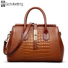 Go Meetting Brand Genuine Leather Women's Handbags High Quality Cowhide Women Shoulder Bags Vintage Alligator Messenger Bag WS66