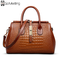 Go Meetting Genuine Leather Women Handbags Totes High Quality Cowhide Women Shoulder Bags Vintage Alligator Ladies Messenger Bag
