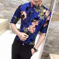 2018 Summer Shirts Mens Dress Shirts With Print Floral Shirts For Mens Blue Flower Camisa Mens