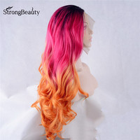 Strongbeauty Long Loose Body Wavy Synthetic Lace Front Wigs Ombre Black/Red/Orange Heat Resistant Wig for Black Women