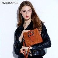 MZORANGE Brand Genuine Leather Women Handbags Vintage Suede matte leather Flap Shoulder Bags Small Messenger Bags Bucket bag