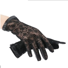 Free shipping touch screen new sheep skin leather gloves female  short manicure Lace thin Spring
