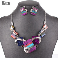 PN12361 Fashion Purple Necklace Set Jewelry Set Silver Plated Purple Resin Fashion Design Party Gift High