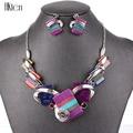 MS20676 модные ювелирные наборы, посеребренные фиолетовые/леопардовые/синие/серые цвета, уникальный дизайн, вечерние подарки, высокое качество, бесплатная доставка - фото