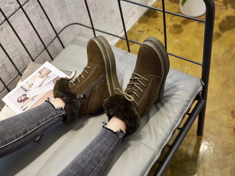 Coin Cuir Haute De Plate Daim Femme D'hiver Dame Fourrure jaune Chaussures Neige Velours Augmenté Cheville Noir vert En Véritable Nouvelle forme Bottes Swyivy BoxeWCrd