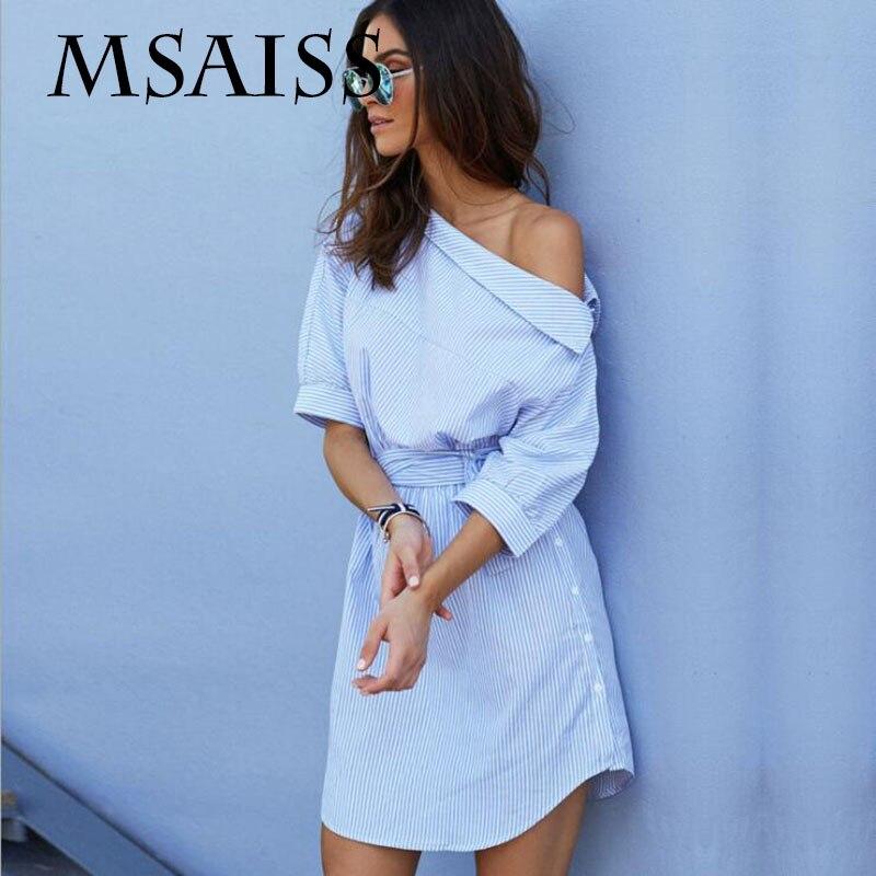 MSAISS D'été Off Épaule Bleu Rayé Chemise Courtes Femmes Robe Mini Sexy Côté de Split Élégant Demi Manches Robes De Ceinture