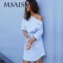 80595002d MSAISS verano camisa rayada azul del hombro mujeres cortas vestido Mini Sexy  lado dividido elegante medio manga vestidos de cint.