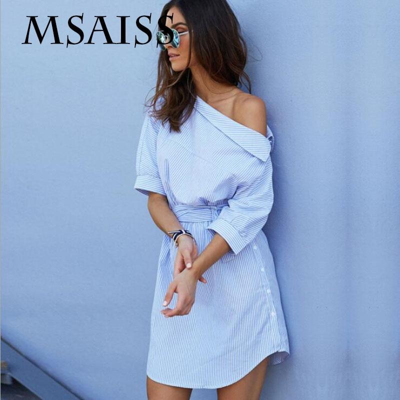 MSAISS verano camisa rayada azul del hombro mujeres cortas vestido Mini Sexy lado dividido elegante medio manga vestidos de cintura
