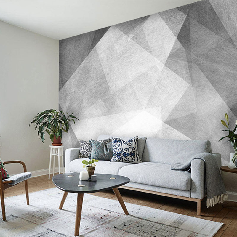 Tuya Art Light Grey Abstrac Geometric Mural Wallpaper For Living Room Office Meeting Wall Decoration Discount Wallpapers In From Home