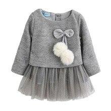 Одежда на год; платье для маленьких девочек; Повседневная осенняя одежда для малышей; плотное платье из двух предметов с бантом для девочек; Детский Рождественский Костюм