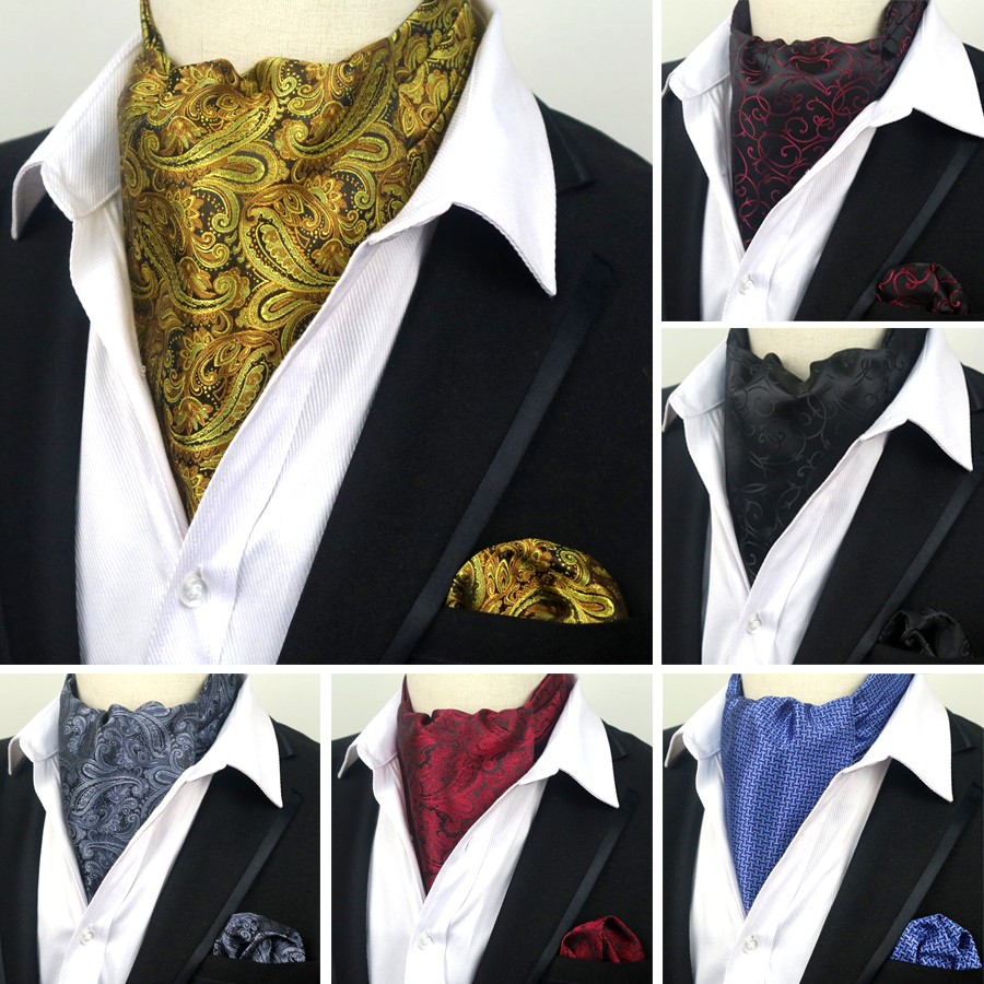 LJT 07 08 09 Men's Vintage 100% Silk Ascot Cravat Tie & Handkerchief Paisley Letters Set Pocket Square Tie Sets Wedding Party