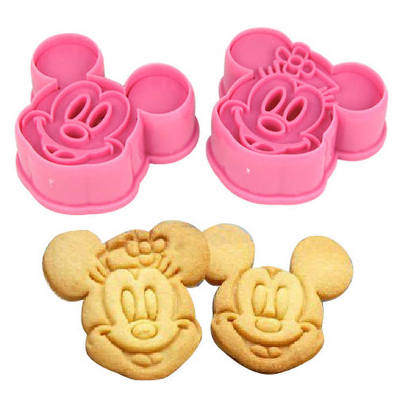 3D Biscuit Printing Cartoon Mouse Minnie Shape 2PCS/Set DIY Cake Decoration Rice ball Mold Baking Biscuit Cutting Mold