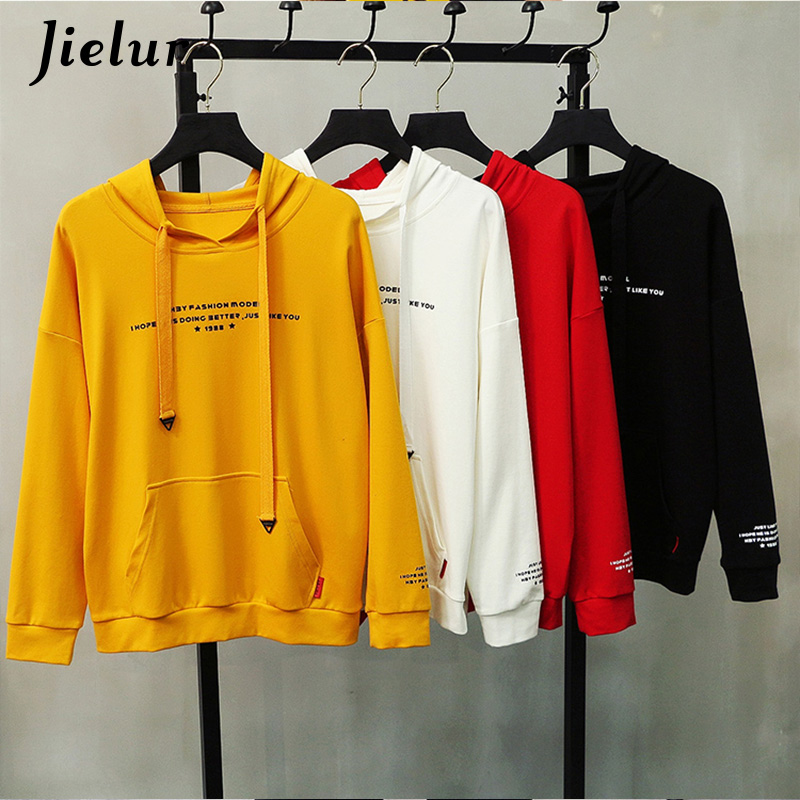 Jielur Letter Long Sleeve Kpop Hoodie Female Hooded Cool Harajuku Thin Sweatshirt Women Loose Casual Moletom M-XXL Dropshipping