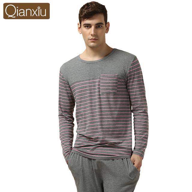 Qianxiu Pijamas Modal y Algodón de Las Mujeres y Los Hombres ropa de Dormir Clásico Salón de La Raya Desgaste Amantes de manga Larga Pijamas Set