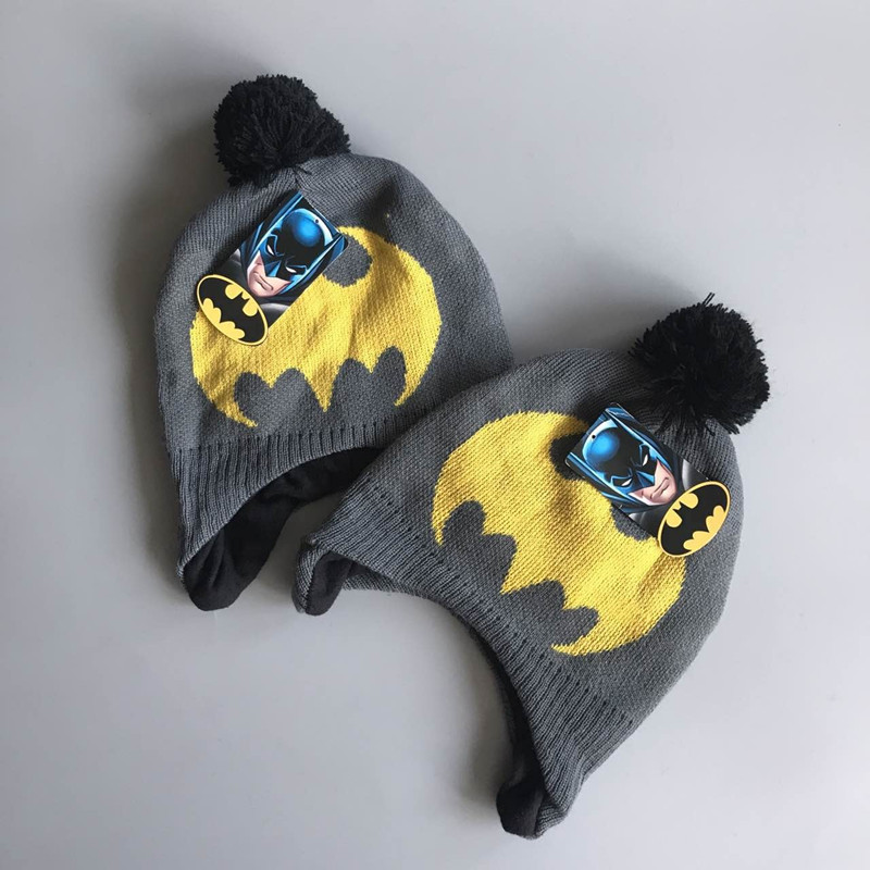 2017 Hot Fashion Winter Cotton Batman Cartoon Hat <font><b>Glove</b></font> Sets For Baby Kids boys <font><b>Warm</b></font> Children Spiderman Knitted Hat