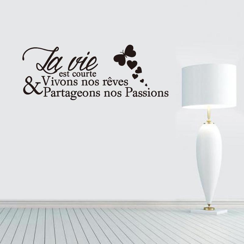 French Citation La Vie Est Courte Vinilo removible Etiqueta de la - Decoración del hogar