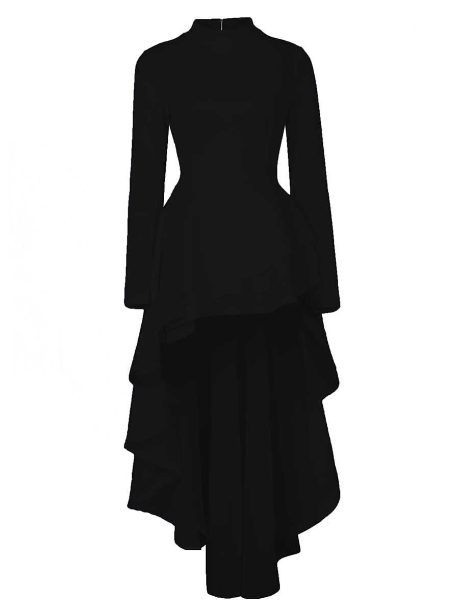 2019 hiver bureau dame Sexy élégant grande taille femmes longues robes pull plaine asymétrique Falbala femme automne robe blanche