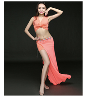 Nowy taniec brzucha kostium sexy głębokie V neck top + długa spódnica 2 sztuk Praktyka taniec brzucha taniec brzucha kostium dla kobiet zestaw S, M, L tancerz tkaniny